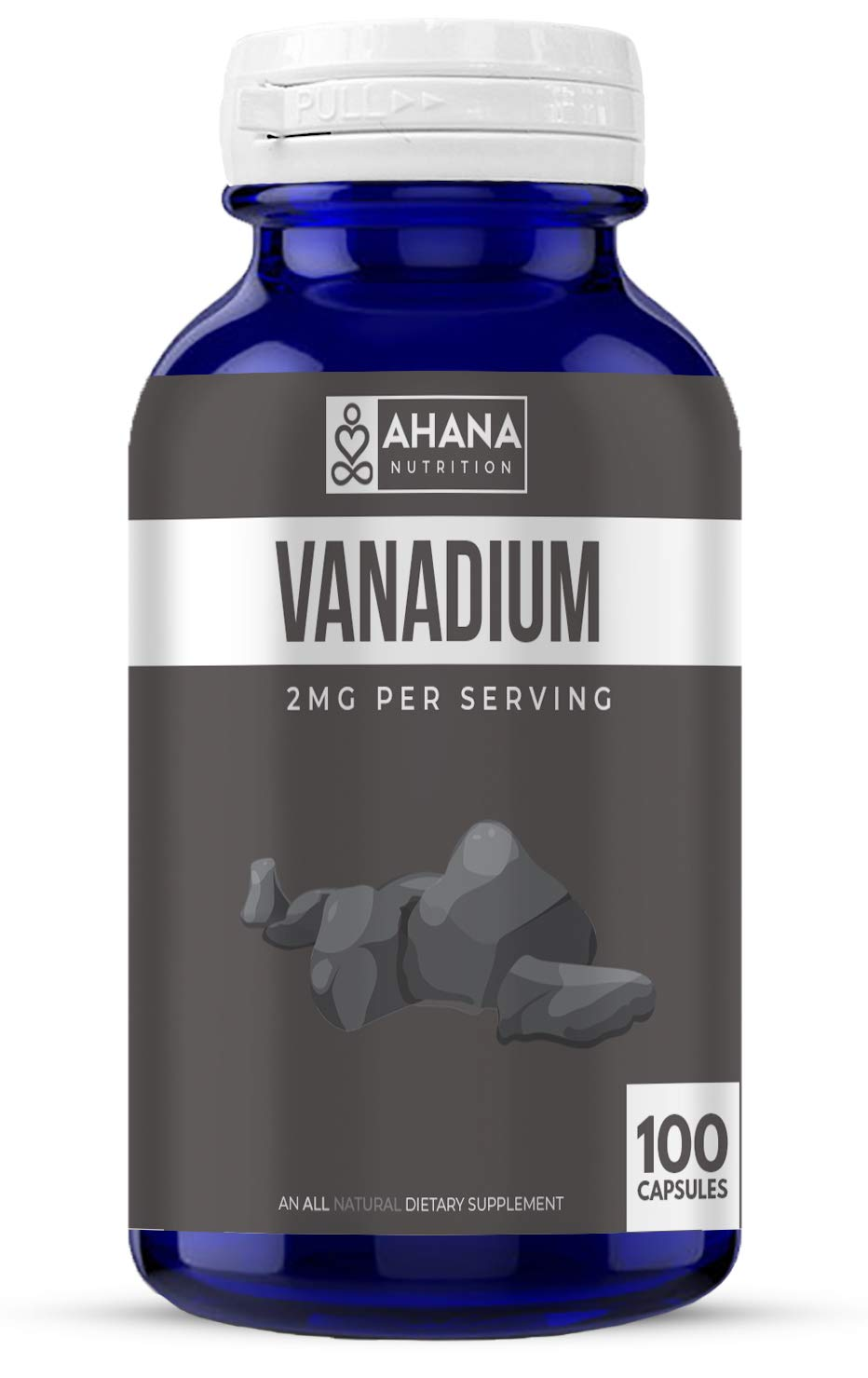 Vanadium Capsules by Ahana Nutrition – Vanadium Supplement to Help Support Blood Sugar Levels, Heart Health and Helps Maintain Healthy Blood Pressure* (2mg - 100 Capsules)