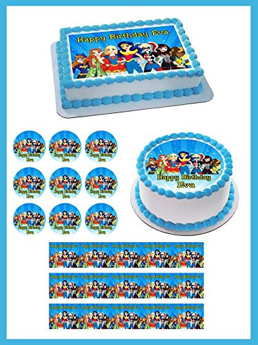 DC Superhero Girls Edible Cake Topper & Cupcake Toppers - 2.5 x 10.5 Strips (3 pieces/sheet) (Girl Cake Edible)