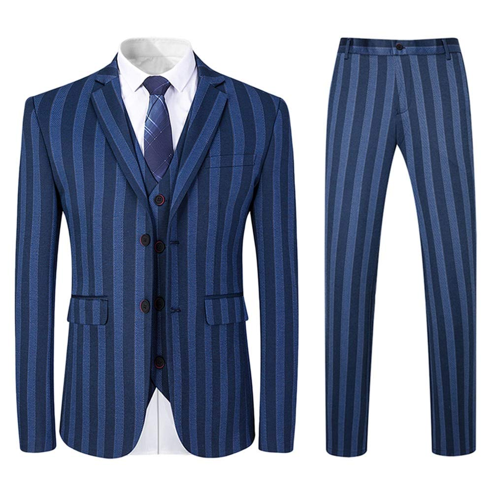 Retro Clothing for Men | Vintage Men's Fashion Mens 3 Piece Suit Formal Strips Floral Slim Fit Notched Lapel Dress Blazer Vest Trousers Set $109.99 AT vintagedancer.com