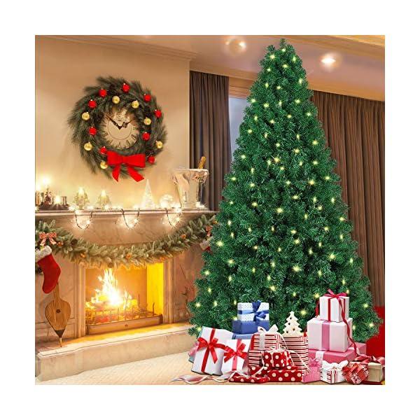 SHareconn Albero di Natale Artificiale, PVC Ago di Pino, Facile Montaggio, Supporto in Metallo, 1602 Rami, 470 LED, Verde Deco 7.5ft 5 spesavip