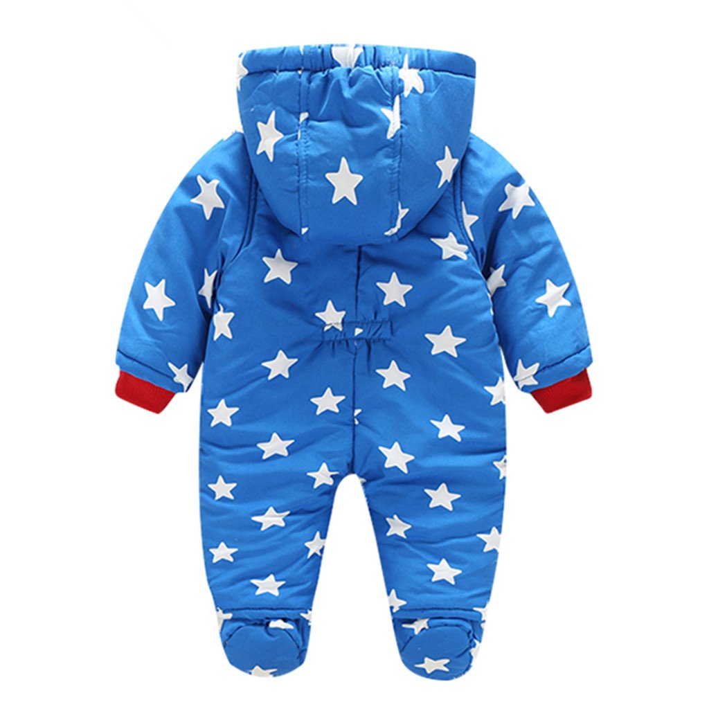 Baby Hooded Romper Snowsuit with Gloves Booties Winter Outfits 3-6 Months