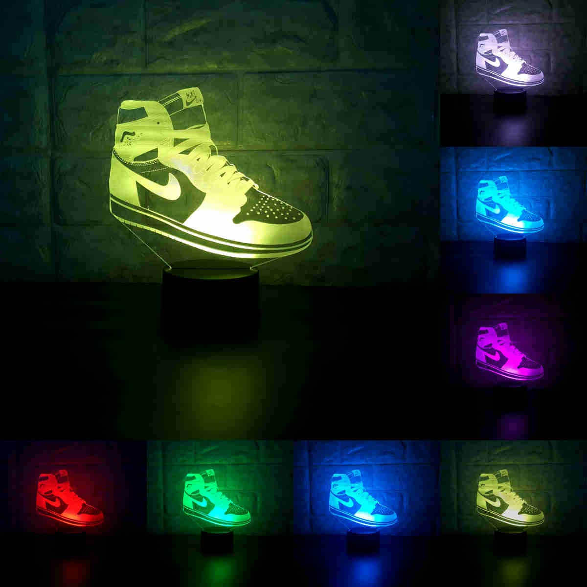 Sneakers 3D Lamp Table NightLight 7 Color Change Running Shoes LED Desk Light Touch Multicolored USB Power As Home Decoration Lights Tractor for Boys Kids (Touch) (Jordan 1)