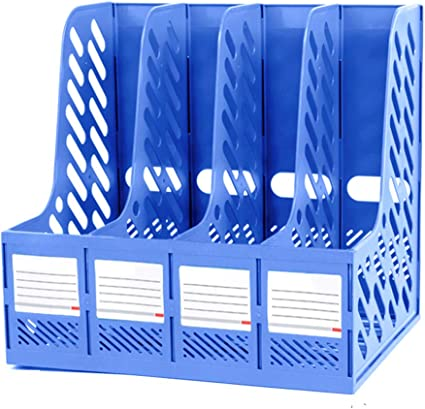 papiers bureau dossiers documents Marte Vanci 4 sections en plastique robuste pour magazines /école bleu armoires