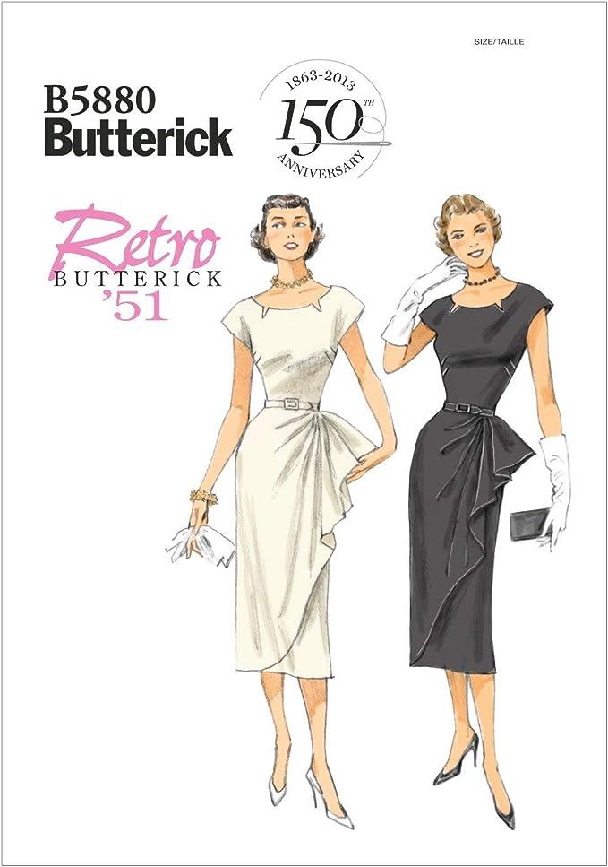 1950s Sewing Patterns | Dresses, Skirts, Tops, Mens Butterick Patterns B5880 Size A5 6 - 8 - 10 - 12 - 14 Misses - Misses Petite Dress and Belt White  AT vintagedancer.com