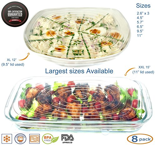 Silicone Stretch Lids Reusable 8 Pack (BONUS LARGE XXL AND XL SIZES) Food Covers, Round, Rectangle, Square Shapes, Platters, Dishes, Bowls, Pots, Containers, Jars, Cans, Cups and Glasses