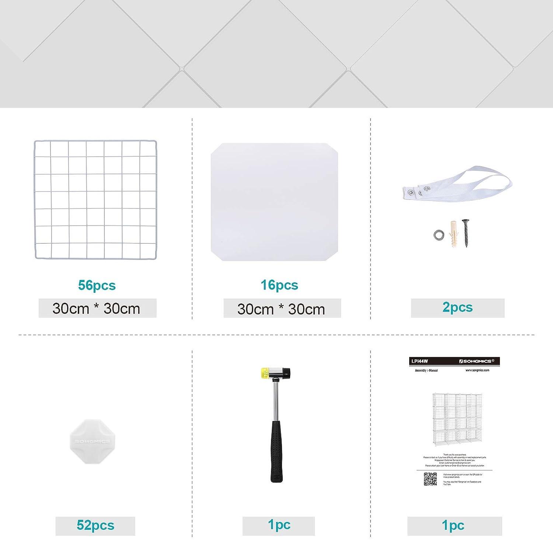 SONGMICS metal Wire Storage Cubes ULPI111H//115H//34H//44H//111/W//115/W//34/W//44/W 16-cube Infradito colorati estivi con finte perline
