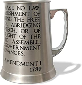 OG Works Double Wall Beer Mug, 13 oz Insulated Beer Stein, First Amendment Stainless Steel Tankard Tumbler