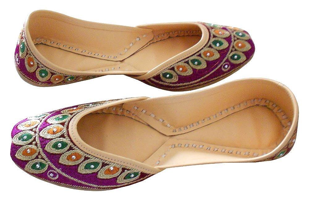 kalra Creations Mujer Tradicional Indio mojari terciopelo Mocasines Piel Pisos: Amazon.es: Zapatos y complementos