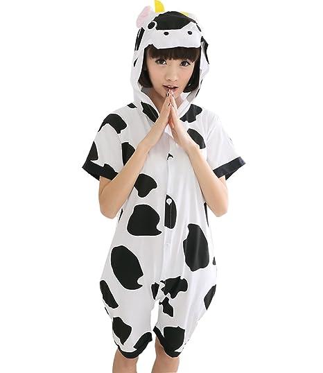 4302ff2bac AyerVici Adult Unisex Animal Onesies Summer Short Sleeves Sleepwear Pajamas  Customes (Cow