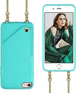 iPhone 6 Plus Leather Wallet Case, iPhone 6s Plus Wallet Case, JLFCH Leather Wallet Case with Card Slot, Detachable Crossbody Strap, Case for Apple iPhone 6 Plus/6s Plus 5.5 inch - Mint Blue