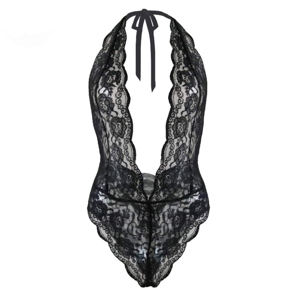 Womens Deep V Plunge Bodysuit Halter Lace Babydoll Underwear Open Back Nightwear Plus Size Black