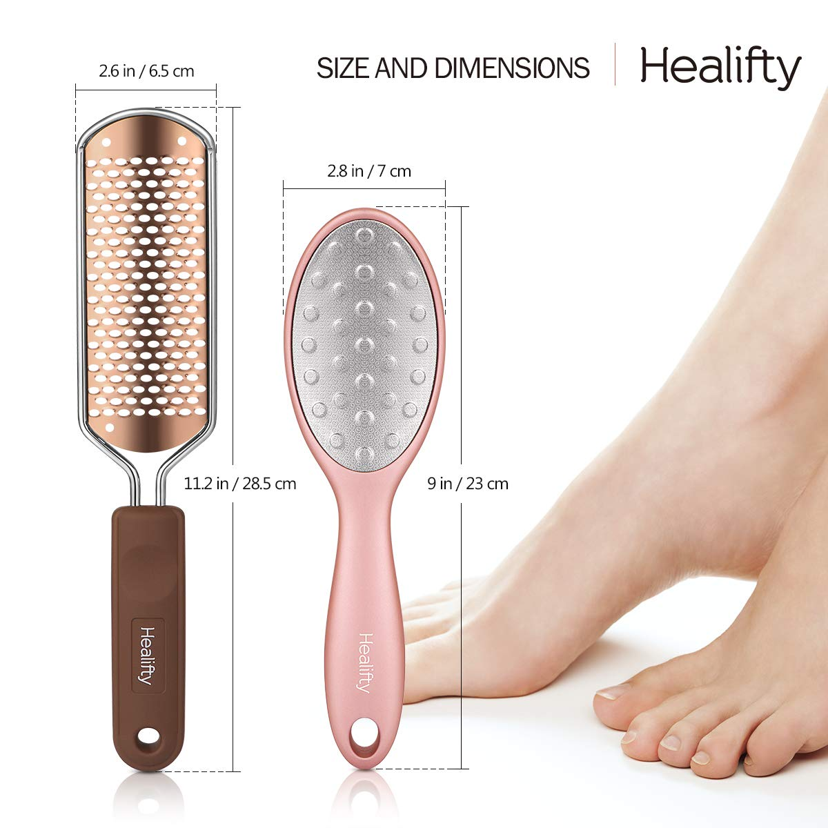 Foot File, Foot Scraper Stainless Steel Colossal Pedicure Heel Rasp Hard Skin Remover Large Metal Surface Tool (2Pcs)