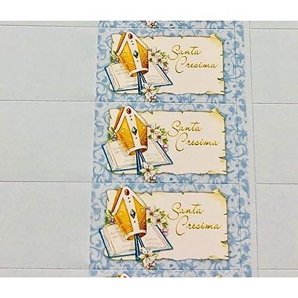 100Pz Notas Tarjeta Detalle Santa Confirmación Azul Cielo: Amazon ...