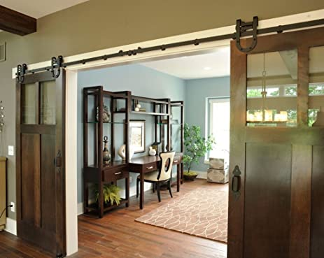 BD HS2 Powder Coated Steel Horseshoe Style Modern Barn Wood Sliding Door Hardware Track