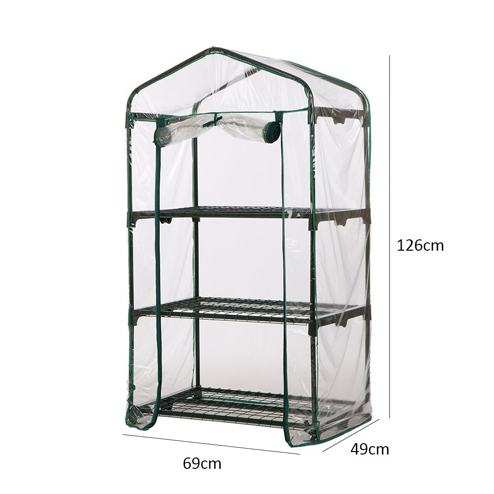 A: 69 * 49 * 126 cm Awhao balc/ón o terraza Invernadero de jard/ín de PVC transparente para estanter/ía sin estante