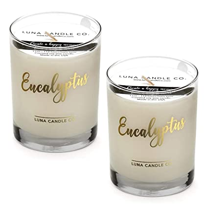 Luna Candle Co. Eucalyptus Scented Soy Jar Candle, Glass, 11 oz, Aromatherapy for Yoga and Relaxation, Up to 110 Hours of Burn Time, Slow Burn, Low ...