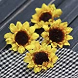 Factory Direct Craft Package of 16 Miniature Artificial Yellow Sunflower Heads for Arranging, Crafting and Embellishing