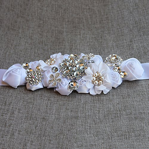 Lujuny Crystal Flower Bridal Maternity Sash Belt – Floral Ribbon Tie for Wedding Pregnant Baby Shower Party Photoshoot (WHITE) by Lujuny (Image #2)