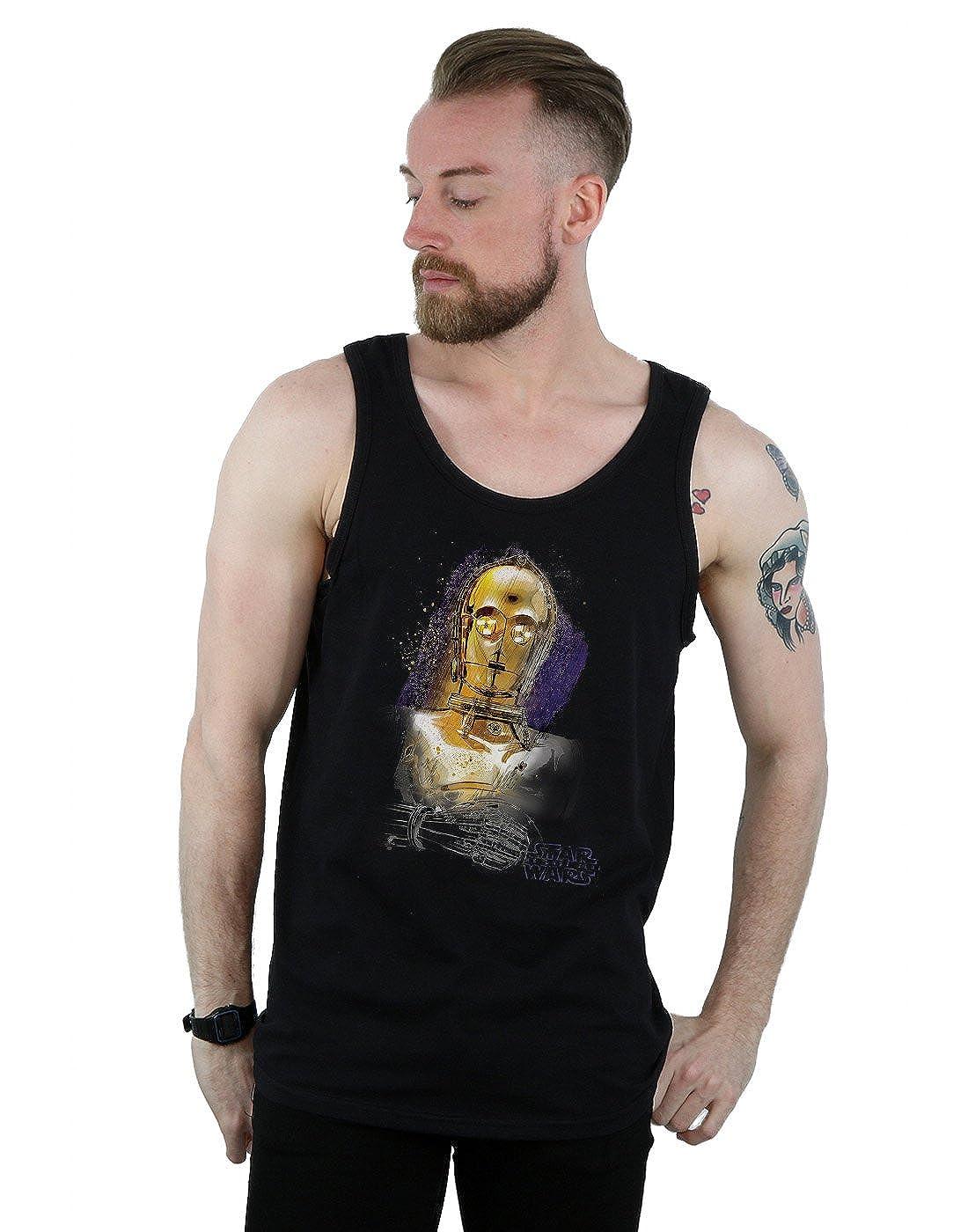Star Wars Mens The Last Jedi C-3PO Brushed Tank Top