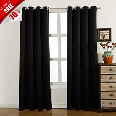 Blackout Curtains 52 W X 84 L Inch,Set Of 2 Panels Room Darkening Drapes