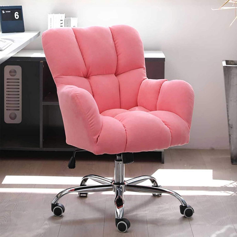 Ergonomisk hem kontor skrivbordsstol, mitten av ryggen datorstol tjock sittdyna ländrygg stöd justerbar höjd, sitthöjd: 50-58 cm Rosa
