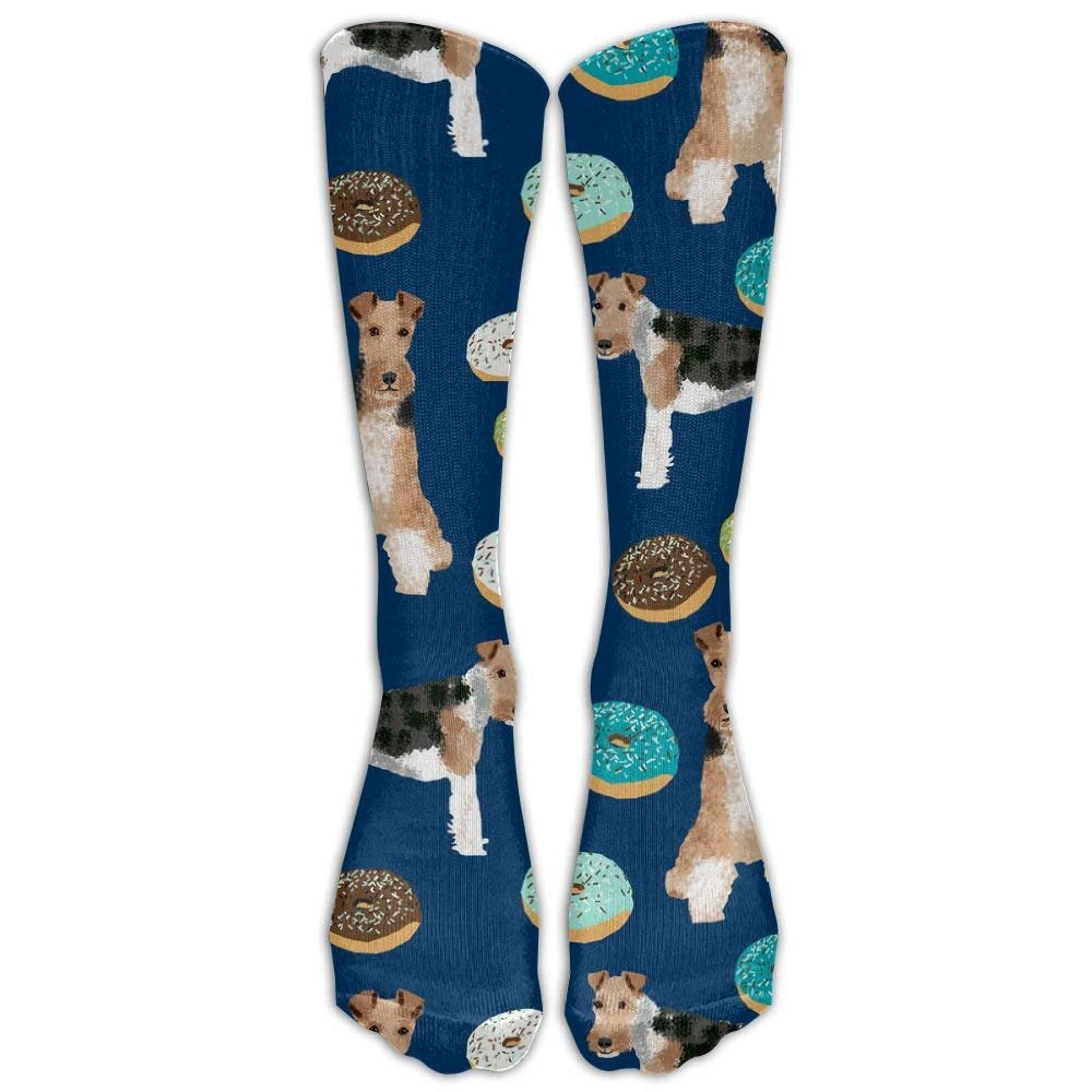 Athletic Printed Cotton Wire Fox Terrier Socks For Women's