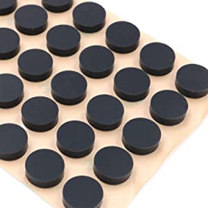 """Furniture Silicone Rubber Pads 3/8"""" (10mm) Diameter Round 3M Self Adhesive Protects Kitchen Cabinets, Drawers, Desks and Furniture Against Bumps and Scratches 100 Pack - Black"""