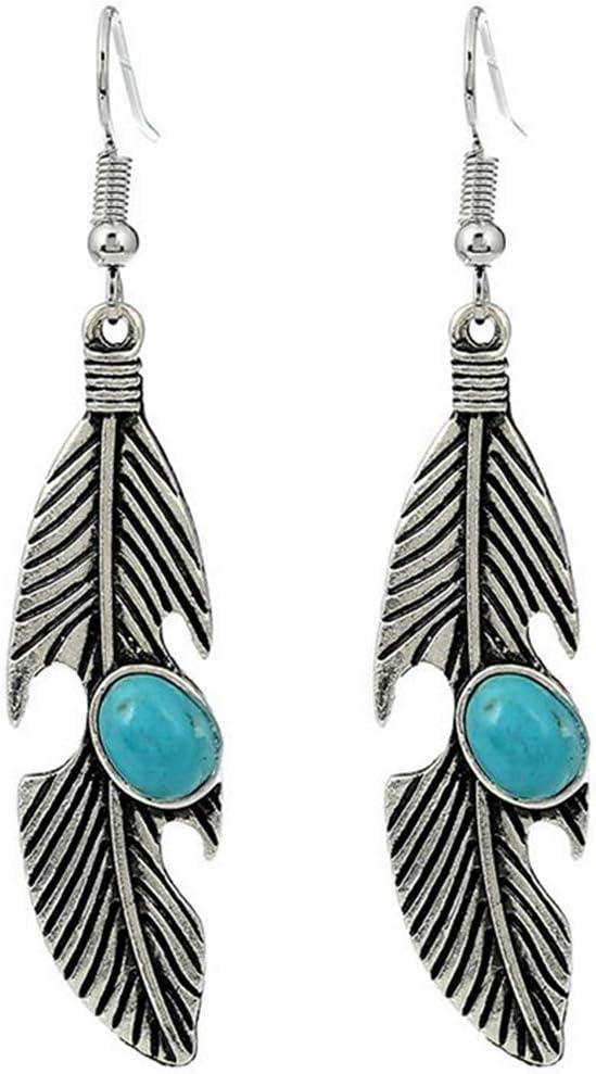 Lumanuby Pendientes Moda Retro Pluma Turquesa Colgante Earrings Mujer Pendiente para Las Mujeres Regalos Arete