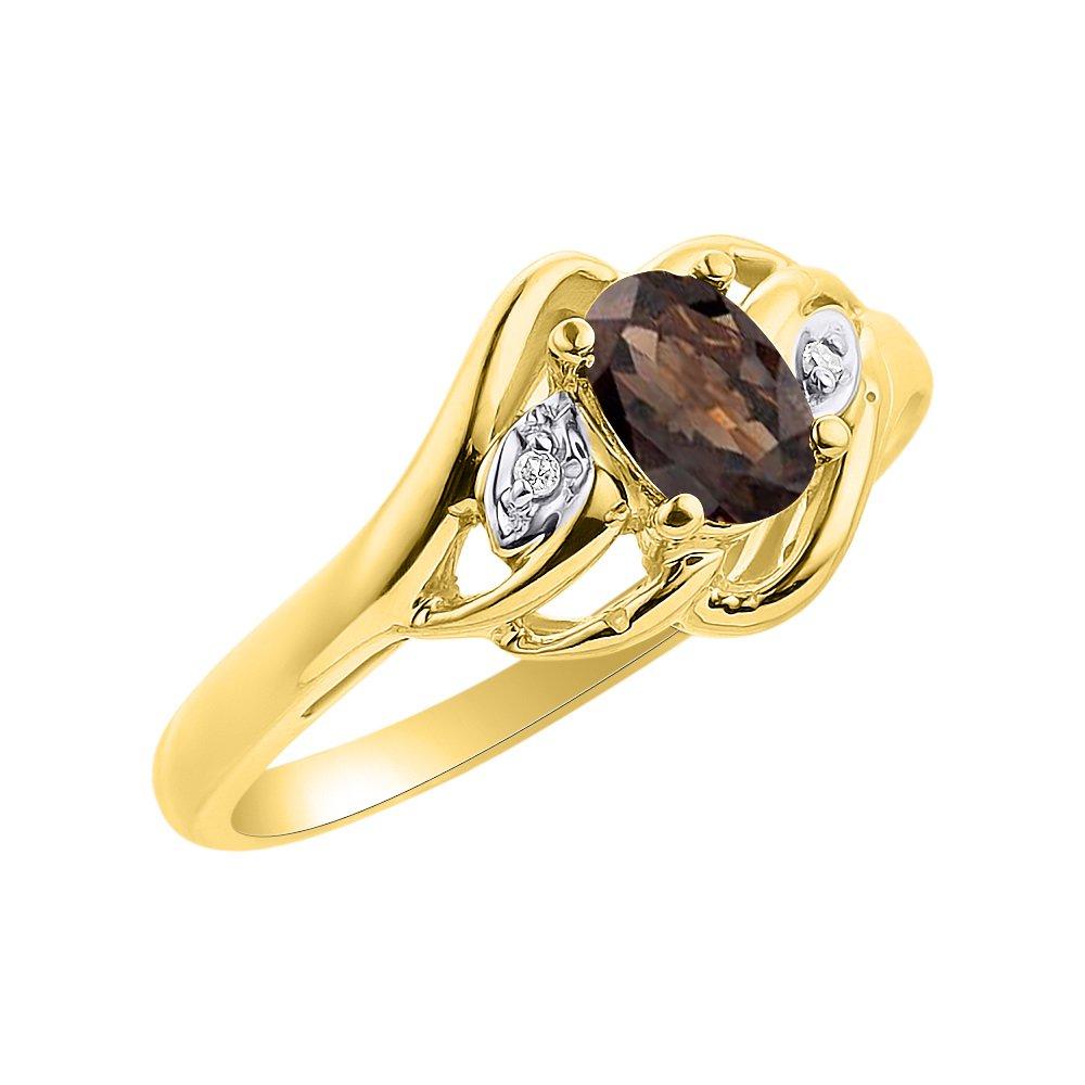 Diamond /& Smoky Quartz Ring Set In Yellow Gold Plated Silver Birthstone