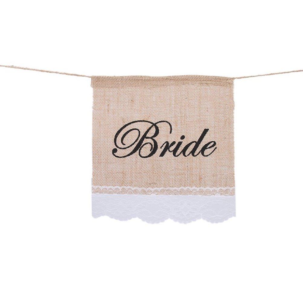 Fenical 2pcs Bride Groom Chair Signs Vintage Burlap Bunting Banner Wedding Decoration