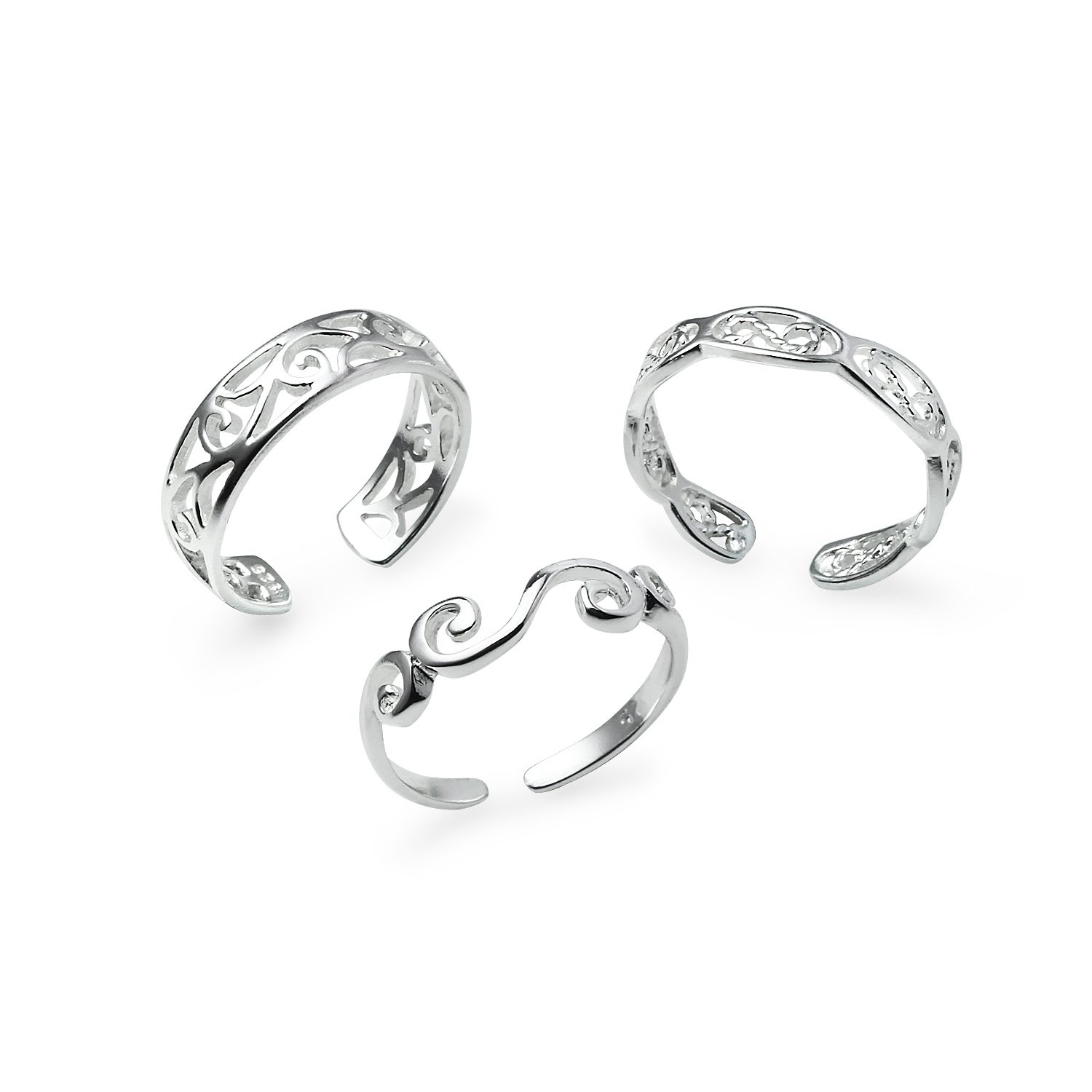 Sterling Silver Assorted Adjustable Toe Rings Jewelry Set of 3 Rings