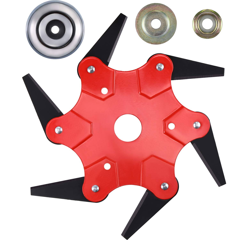 Mudder 6 Teeth Trimmer Head Enhanced Version Trimmer Head 65Mn Grass Steel Blades Tool with Group Work Head Accessories by Mudder