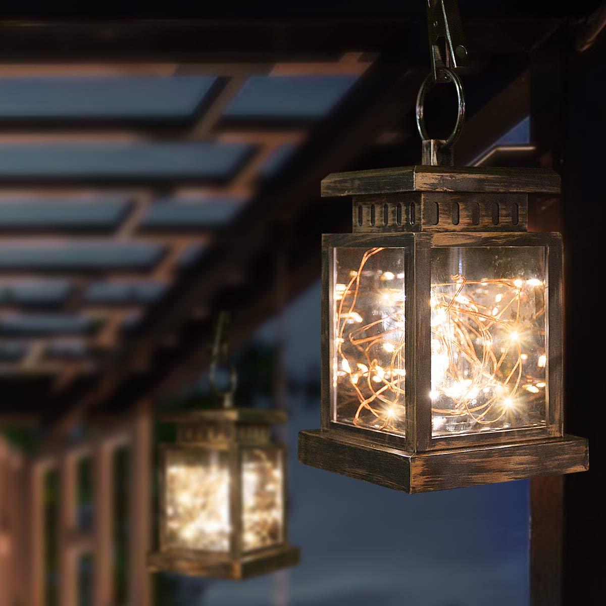 Homeleo Solar Outdoor Table Lantern, 30LED Warm White Vintage Decorative Copper String Lantern, Waterproof Solar Powered Outdoor Hanging Lights for Garden Patio Umbrella
