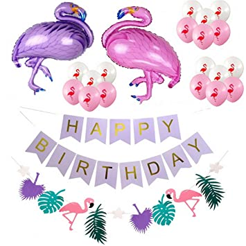 Amazon.com: Party Decoration Flamingo and Balloons Hanging ...