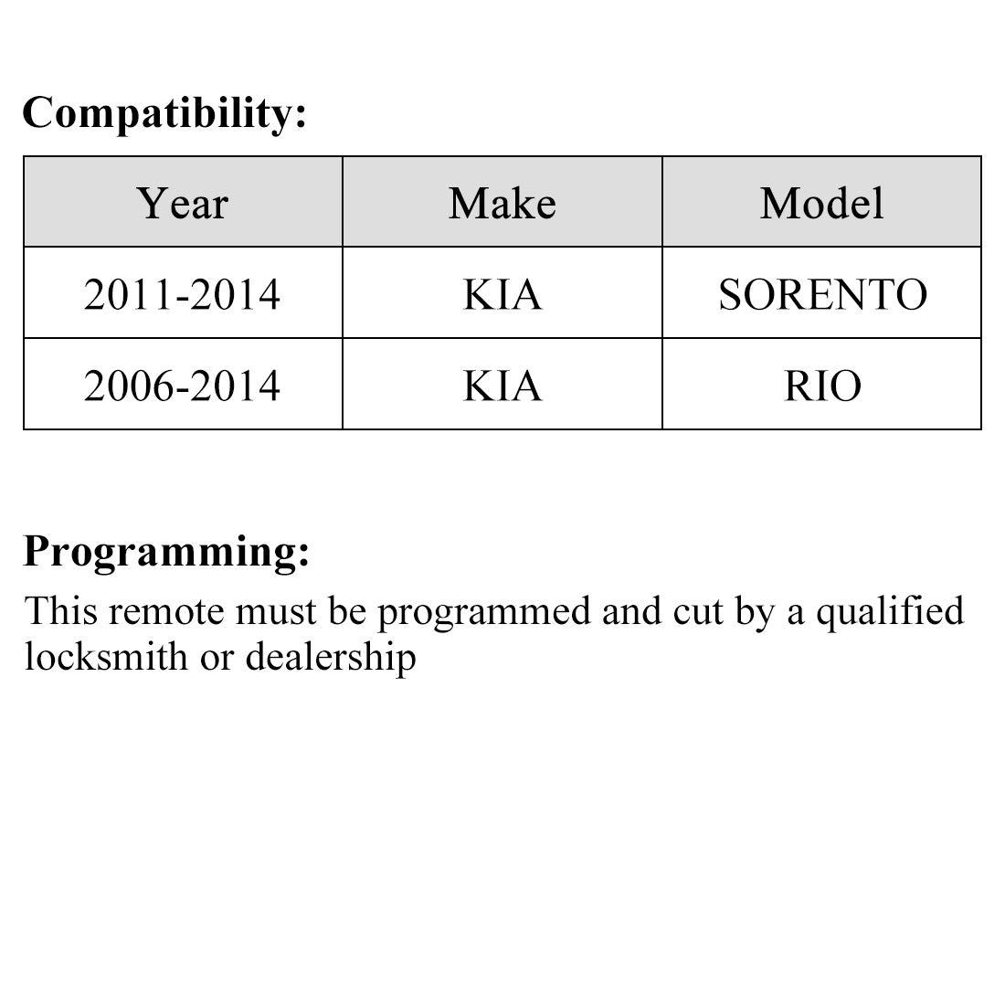uxcell Replacement Keyless Entry Remote Car Key PINHA-T036 95430-1U000 315Mhz for 2011-2014 Kia Sorento