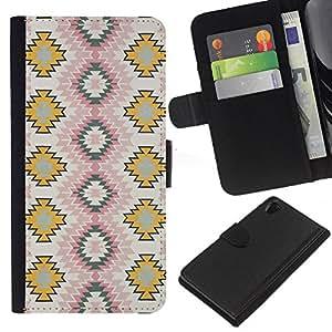 KLONGSHOP // Tirón de la caja Cartera de cuero con ranuras para tarjetas - Arte del papel pintado Zigzag - Sony Xperia Z2 D6502 //