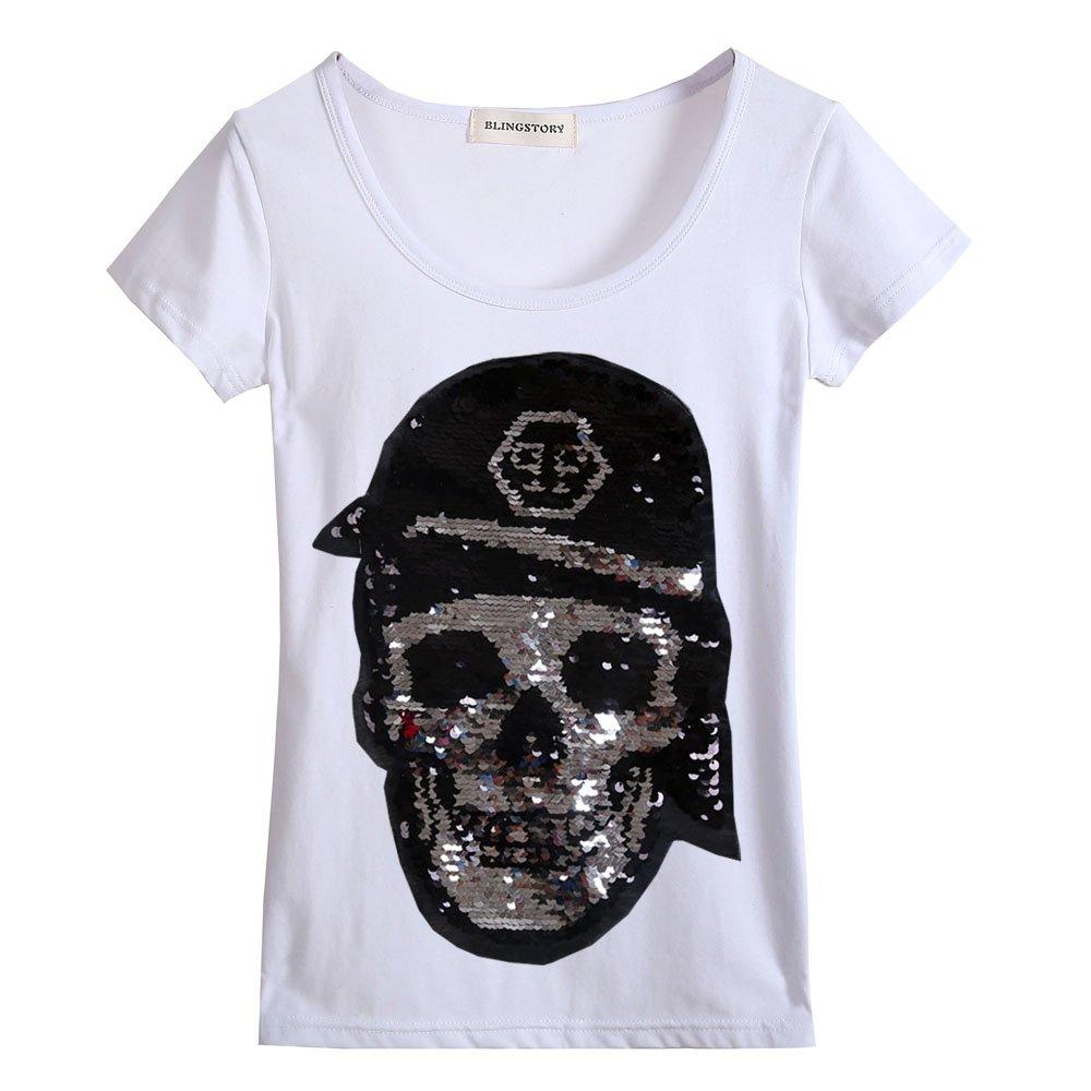 Summer Casual Tee Shirt Female Fashion Plus Size Women Skull Sequin T-shirt S-6XL