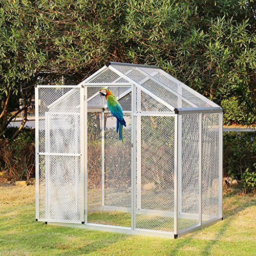 6'x4' Walk In Aluminum Large Aviary Bird Cage Pet House Heavy Duty for Parrot Macaw w/One Door (cage, 2)