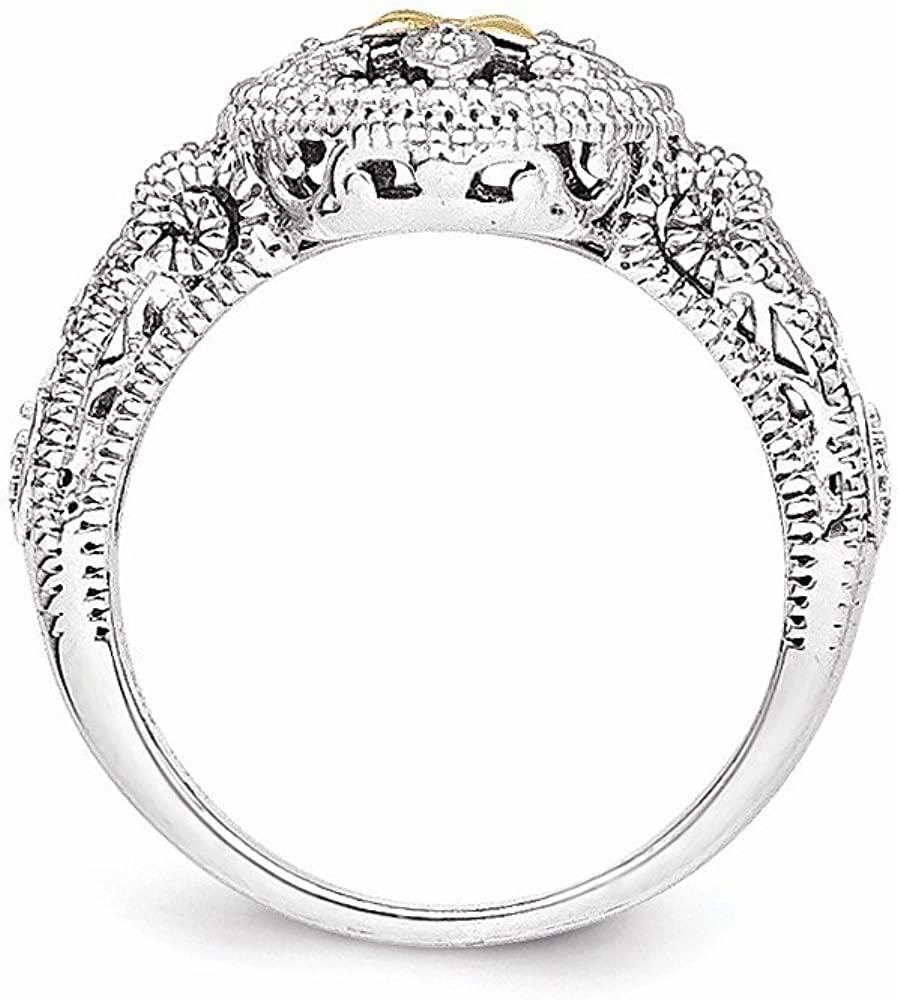 Sterling Silver with 14k Diamond Ring