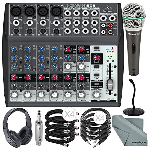 (Behringer XENYX 1202 12 Channel Audio Mixer and Deluxe Bundle w/Samson Dynamic Mic + Closed-Back Headphones + Desktop Mic Stand + More)