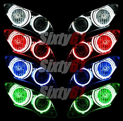 Kawasaki Ninja ZX14 ZX14R 2006-2018 CCFL Demon Angel Eyes Halo lights headlight rings kit set (Red)