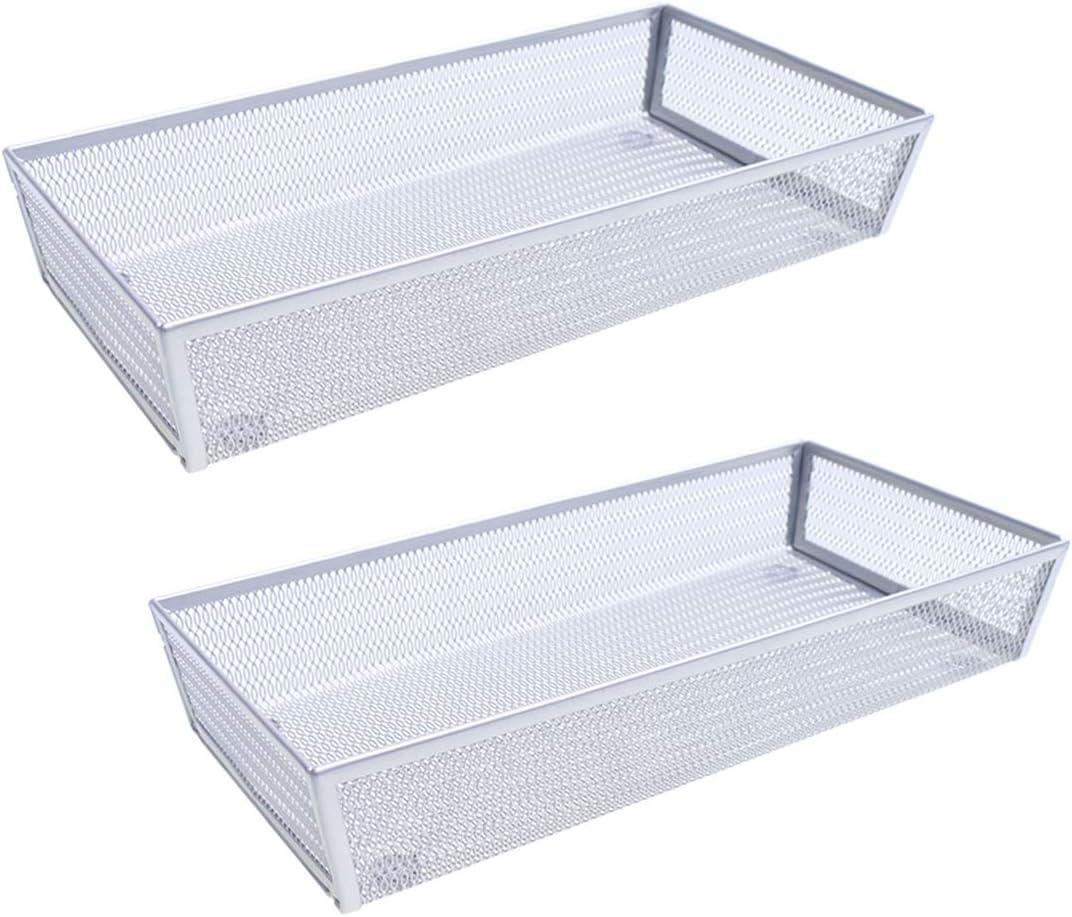"SZAT PRO 2 Packs 6 Inches Mesh Cutlery Tray Drawer Organizer Flatware Organizer Utensils storage for School Supply Holder, Office Items, Home Organization(Silver, 12"" x 6"" x 2"",1 compartment)"