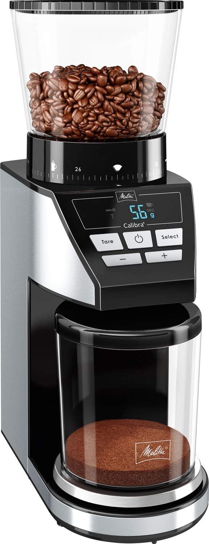 Melitta Calibra 1027-01, molinillo de cafe en grano electrico, muelas cónicas, 39 grados de molienda, báscula digital, pantalla LCD, 160W, 160 W, 0.38 kg, negro/Acero inoxidable: Amazon.es: Hogar