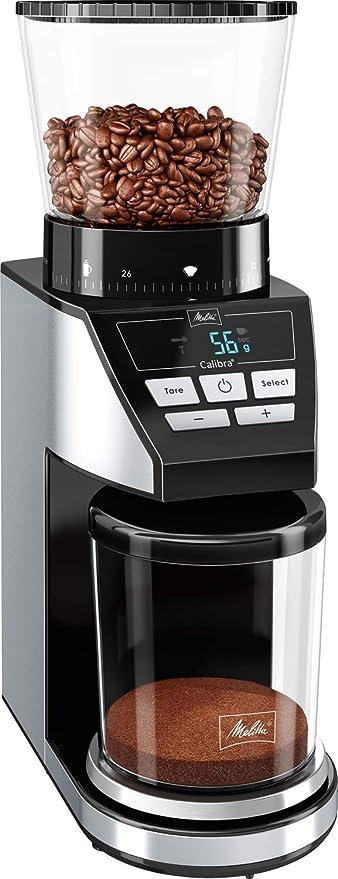 Melitta Calibra 1027-01, molinillo de cafe en grano electrico, muelas cónicas, 39 grados de molienda, báscula digital, pantalla LCD, 160W, 160 W, 0.38 ...
