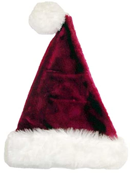 f9d5a40d18173 Image Unavailable. Image not available for. Color  17 quot  Plush Burgundy    White Santa Hat ...