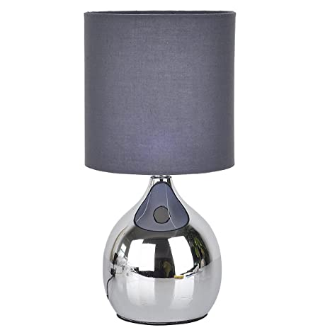 Grey Mini Touch Table Lamp 4 Stage Chrome Desk Bedside Light Wide 6 Inch  Tall 12
