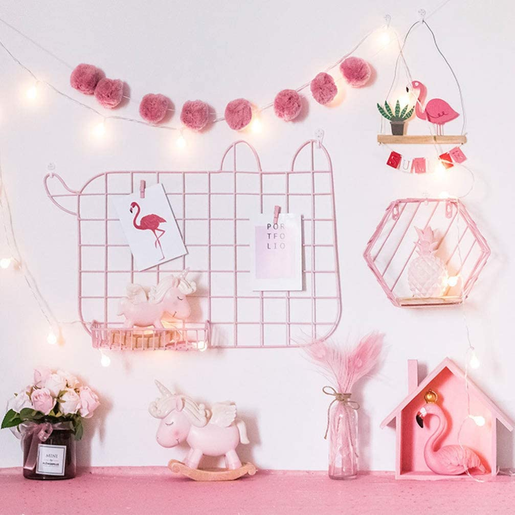 pink pink//white//black optional, 40*55cm Kitchens and Homes Grid Wall Panels,DIY Wire Wall Grid-for Decoration of Photo walls or Memo boards in Offices Wall Panels,Cat-shaped Wall Grid