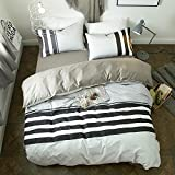 VClife Twin Bedding Sets Reversible Cotton Geometric Duvet Cover Sets Stripe Bedding Collection (Including 1 Duvet Cover + 2 Pillowcases), Twin