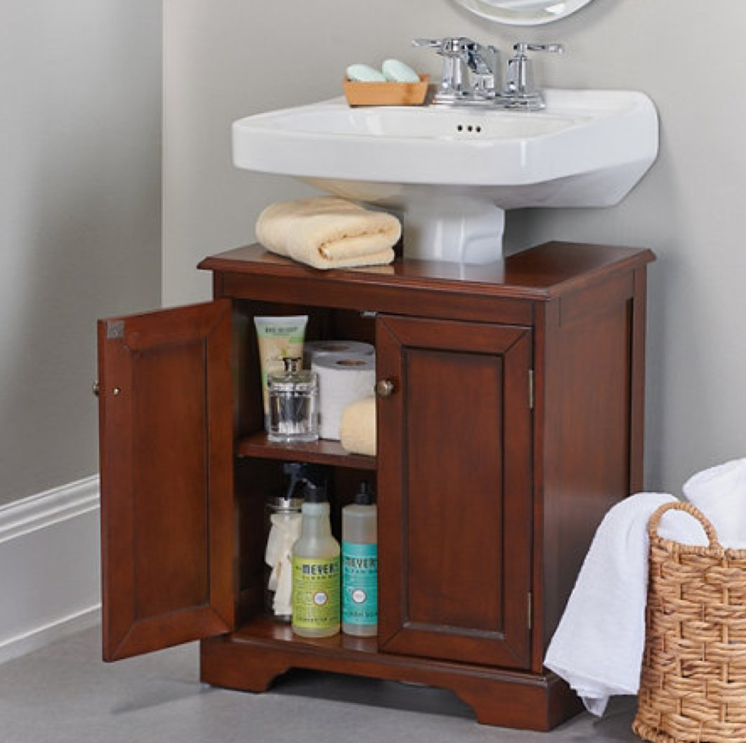 Weatherby Bathroom Pedestal Sink Storage Cabinet   Walnut     Amazon.com
