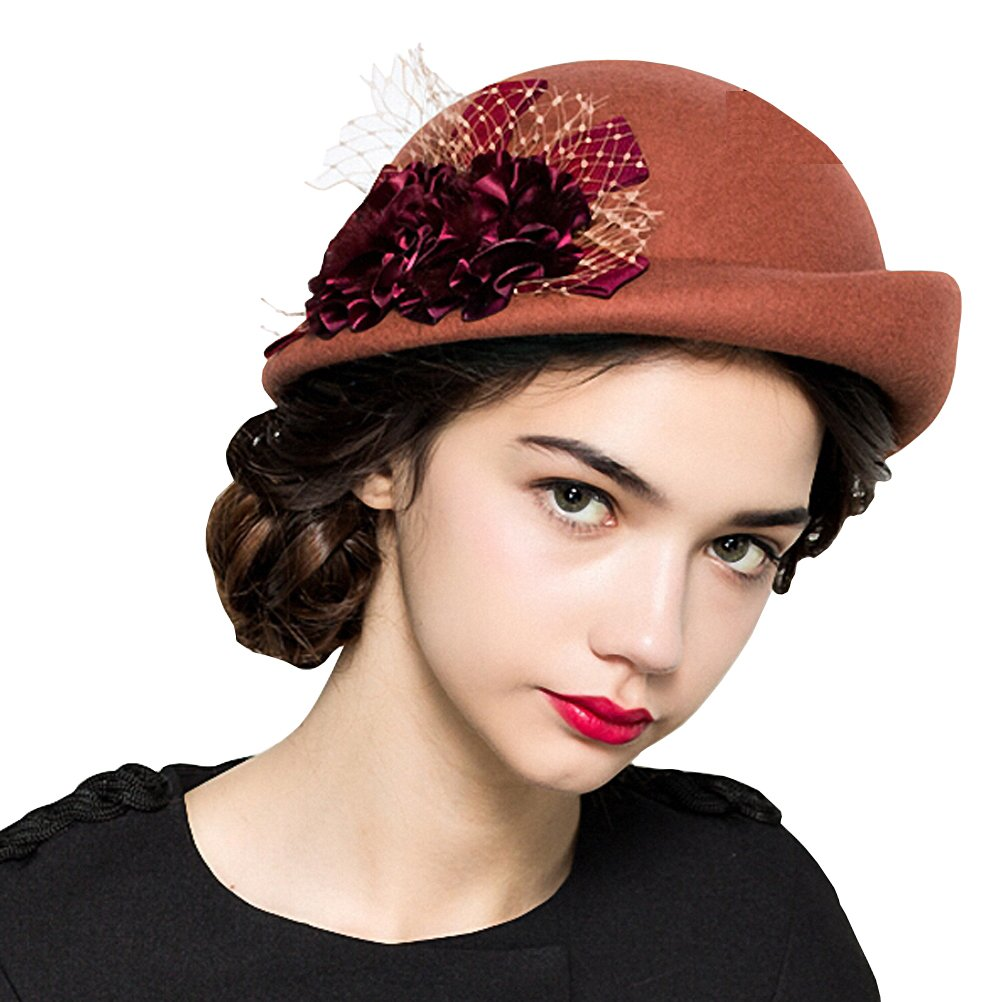 Maitose Women's Lace Flower Wool Beret Cap Orange
